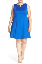 Plus Size Women's Ellen Tracy Keyhole Detail Scuba Knit Fit And Flare Dress Cobalt