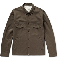 Folk Cotton Twill Shirt Jacket Green