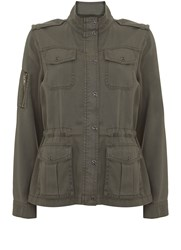 Mint Velvet Khaki Pocket Detail Jacket Dark Green