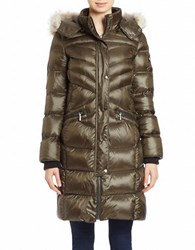 Bernardo Convertible Coyote Fur Trimmed Puffer Coat Deep Olive