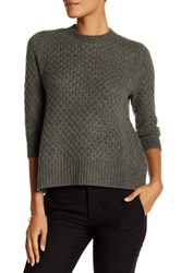 Qi Honey Comb Cashmere Sweater Green