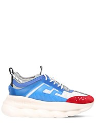 Versace Chain Reaction Mesh And Leather Sneakers Red White Blue