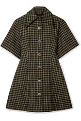 Beaufille Piper Checked Twill Mini Dress Forest Green