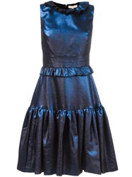 Maria Lucia Hohan Ruffled Flare Dress Blue