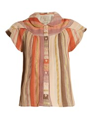Ace And Jig Monet Ruffle Sleeved Striped Cotton Blend Top Multi