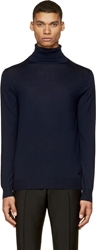 Burberry Navy Merino Minimalist Turtleneck