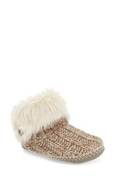 Women's Bedroom Athletics 'Toni' Faux Fur Knit Slipper Bootie Natural Knit