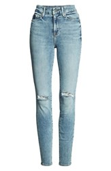 Good American Legs Ripped High Waist Skinny Jeans Blue129