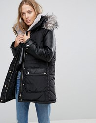 Amy Lynn Parka With Faux Fur Hood And Pocket Detail Black