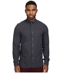 Fred Perry Distorted Gingham Twill Shirt Graphite Marl Men's Clothing Gray