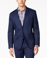 Inc International Concepts Men's Stretch Slim Fit Linen Blazer Only At Macy's Basic Navy