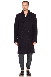 Scotch And Soda Long Shawl Collar Cardigan In Boucle Knit Navy