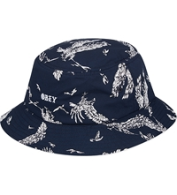 Obey Bird Print Bucket Hat Navy