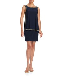 Betsy And Adam Stud Trimmed Overlay Tank Dress Navy Gold