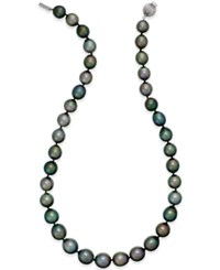 Macy's Cultured Tahitian Black Pearl 10 12Mm Strand Necklace In 14K White Gold Gray