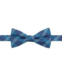 Countess Mara Navy Clear Grid Pre Tied Bow Tie Aqua