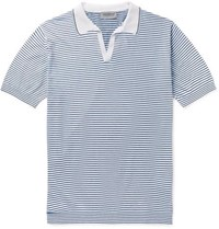 John Smedley Slim Fit Striped Knitted Sea Island Cotton Polo Shirt Blue