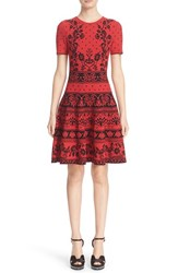 Alexander Mcqueen Women's Floral Jacquard Knit Fit And Flare Dress