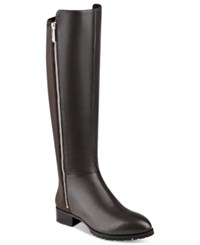 Nine West Legretto 50 50 Stretch Tall Boots Women's Shoes Dark Grey Leather