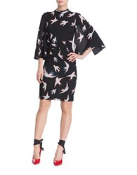 Tracy Reese Bird Printed Kimono Dress Black Multi