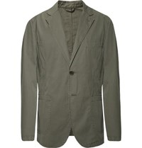 Aspesi Grey Green Slim Fit Unstructured Cotton Poplin Blazer Gray Green