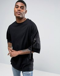 Asos Oversized T Shirt With Half Sleeve And Twill Shoulder Pocket Black