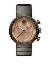 Movado Edge Ionic Plated Steel Ray Textured Dial Bracelet Watch Gunmetal