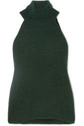 Jacquemus Baho Ribbed Wool Blend Turtleneck Top Forest Green
