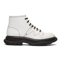 Alexander Mcqueen Off White Tread Lace Up Boots