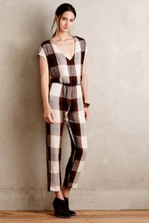 Porridge Cropped Plaid Jumpsuit Brown Motif