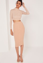 Missguided Ribbed Popper Through Midi Skirt Nude Red