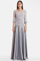 Js Collections V Back Lace And Satin A Line Gown Silver