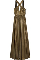 Halston Heritage Cutout Pleated Lame Gown Bronze