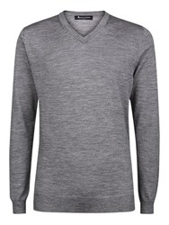 Aquascutum London Crowe V Neck Merino Wool Jumper Grey