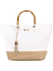 Heidi Klein 'Savannah Bay' Bamboo Handle Tote Women Cotton Raffia Wood One Size White