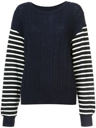 Y's Cable Knit Striped Jumper Acrylic Nylon Wool Blue