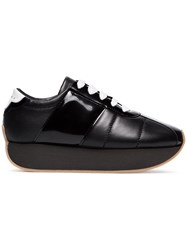 Marni Quilted Leather Platform Sneakers Black
