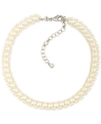 Carolee Silver Tone Imitation Pearl Choker Necklace White