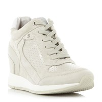 Geox Nydame Zip Side Lace Up Wedge Trainers Beige