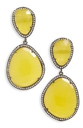 Susan Hanover Women's Semiprecious Stone Drop Earrings Yellow Black Silver