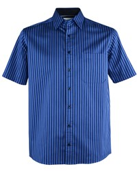 Double Two Men's Satin Stripe Short Sleeve Casual Shirt Blue