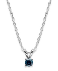 Macy's 10K White Gold Blue Diamond Pendant Necklace 1 10 Ct. T.W.