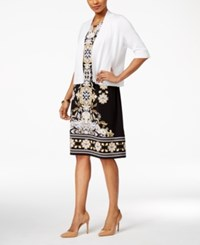 Jm Collection Open Front Button Sleeve Cardigan Only At Macy's Bright White