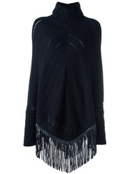 Babjades Cable Knit Fringed Poncho Blue