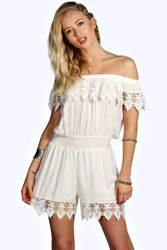 Boohoo Cate Crochet Off The Shoulder Playsuit White