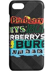 Burberry Tag Print London Check Iphone 8 Case Grey