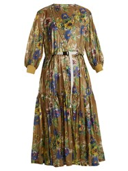 Toga Belted Floral Print Nylon Dress Green Multi