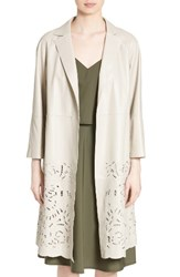 Lafayette 148 New York Women's Delcy Embroidered Leather Topper