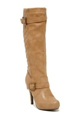 Elegant Footwear Salty Quilted High Heel Boot Beige