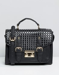 Asos Weave Satchel Bag Black